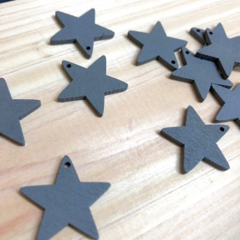 ○12個○ 木の星型パーツ 【グレー】