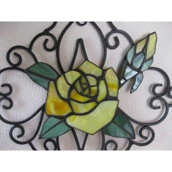 ◆ウォールデコ 黄色のバラ ◆ステンドグラス