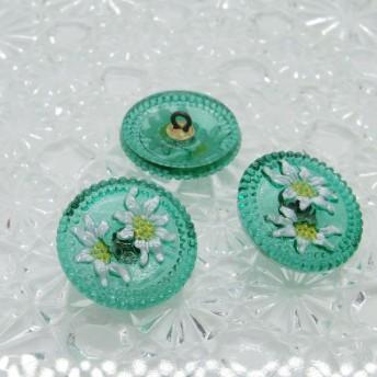 ◆チェコガラスボタン◆エーデルワイス・クリア緑 ::: 中2.3cm