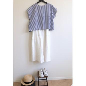 再入荷 ladies ● French blouse ● blue stripe ●Free size
