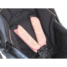 ベビーカー チャイルドシート用ベルトカバー ストライプピンク