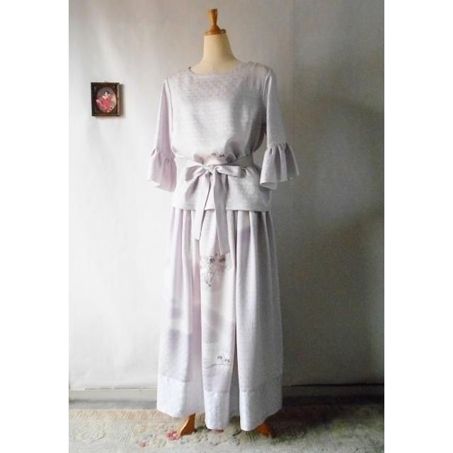 SALE 着物リメイク セットアップ ブラウスとスカート 扇刺繍