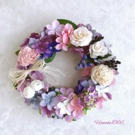 涼やかなローズと紫陽花のリース