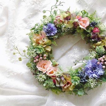 Antique flowers 矢車菊と紫陽花のリース