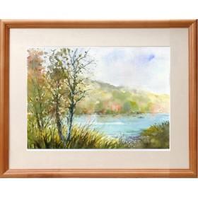 水彩画原画 秋の湖畔