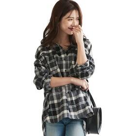 【35%OFF】 神戸レタス オーバーサイズチェックシャツ [C4034] レディース グレー×ブラック ワンサイズ(M) 【KOBE LETTUCE】 【タイムセール開催中】