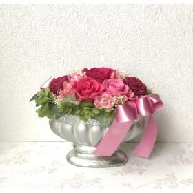 ピンク系エレガントアレンジ♪プレゼント薔薇桃色プリザーブドフラワー母の日花ブリザードフラワー結婚式誕生日プリザ 薔薇プレゼント誕生日バラギフト花器サプライズ結婚祝い退職祝い卒業祝いリボン