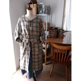 ヘリンボーンコットンレーヨンチェック柄の羽織りコート