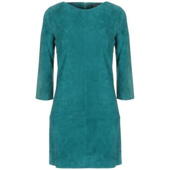 《セール開催中》JITROIS レディース ミニワンピース&ドレス エメラルドグリーン 38 羊革(ラムスキン) 100%