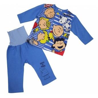スヌーピー 前開き長袖パジャマ(ブルー×90cm)