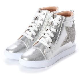 マシュガール masyugirl 4E/幅広ゆったり・大きいサイズの靴 「雑誌lafarfa11月号 掲載商品」「モデル えんどぅ-ちゃん着用」シャイニースターインヒールスニーカー SOROTTO