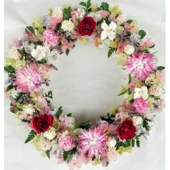 紫陽花とワイン色の薔薇リース(プリザーブド&ドライフラワー)