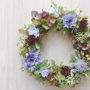 Antique chic 矢車菊と紫陽花のリース