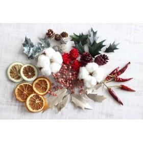クリスマスカラーの花材(リース・ボタニカルキャンドル・アロマワックス用)