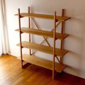 【送料無料】無垢ナラ材の組立シェルフ 棚 収納(受注製作の無垢家具)
