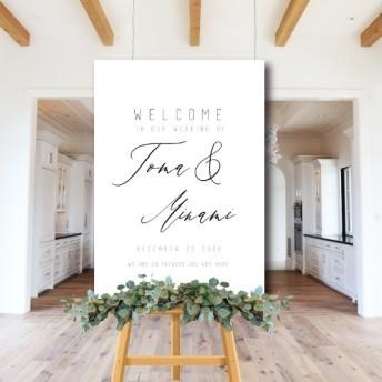 ウェルカムボードモノトーン シンプル 名入れ 結婚式 二次会 ポスター印刷 パネル加工OK bord0258