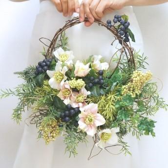 リースブーケ風グリーンいっぱいナチュラルバッグブーケ(ブーケブートニアセット 造花)