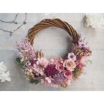 Lune Bonheur <Violet antique>*受注制作*ハーフムーンリース*プリザーブドフラワー*リース*お花*ギフト*結婚祝い*記念日*新築祝い*引っ越し祝い