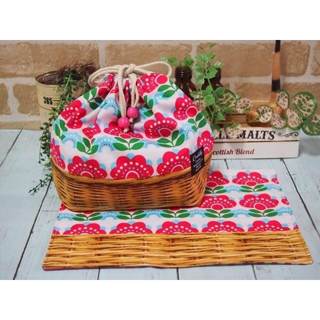 名前用タグ付レトロ風花柄&籠柄のお弁当袋&ランチョンマットタグ付き【A4サイズ*ピンク】
