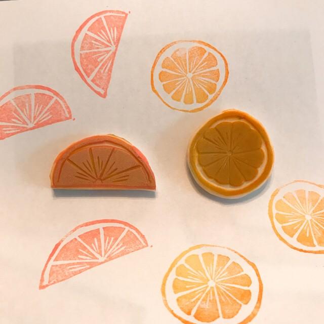 消しゴムはんこ シトラス オレンジ レモン フルーツ 果物