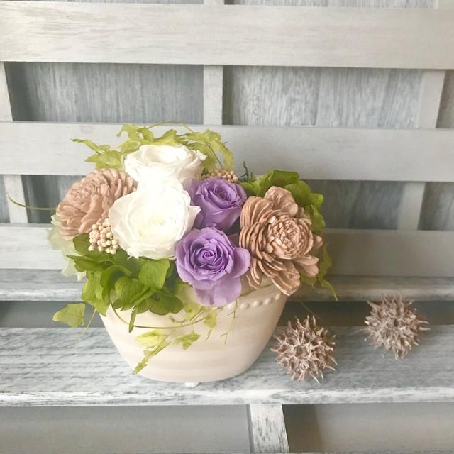 落ち着いた色合いプリザーブドフラワー ウェディング プレゼント 母の日 結婚祝い 誕生日 新築祝い 退職祝い 送別祝い