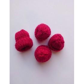 小さなニット帽 (ボルドー) 4個