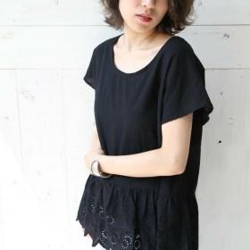 綿ローン(黒)裾カットワークのドルマンスリーブプルオーバー