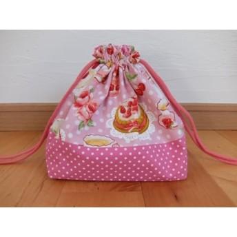【Sale 送料無料】お弁当袋*ティータイム*ピンク