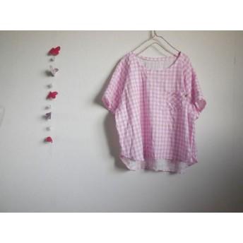 短め☆ラグランプル ダブルガーゼ桜色xひよこタグ