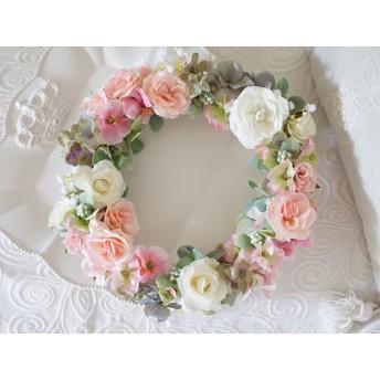 pink & gray wreathアンティークピンクリース