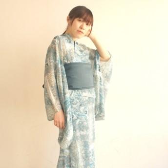 透け感とペイズリーのコントラスト〜10秒で着れる着物& リバーシブル帯 2点セット/ヨーロピアンペイズリーシースルー/ブルー〜