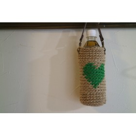 ハート模様の麻ひもペットボトルホルダー(緑色)