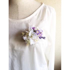 パープル小花とホワイトコサージュ/ヘアアクセサリー 入園、入学 ウェディング 再販*