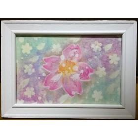 パステルアート 桜と春風のイラスト