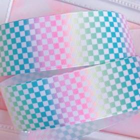 【8329】2m350円 38mm幅 グログランリボン 格子柄 レインボー 虹 カラフル