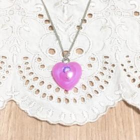 7色のフラワーネックレス (ハート型、ピンク)