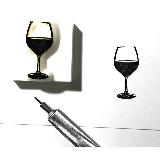消しゴムはんこ『ワイングラス』