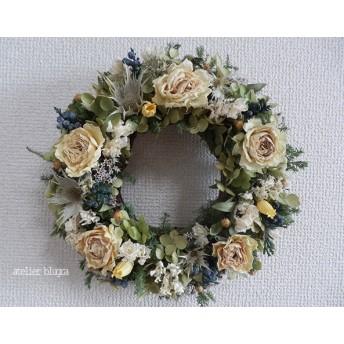atelier blugra八ヶ岳〜アナベルと白薔薇のWreath Ver.1