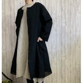 新作 2WAY 羽織り 黒花柄コットンレース・ ロングカーデ コートワンピ M~2L,3L~5Lサイズ プチオーダー可