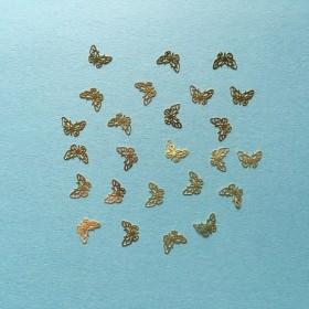 蝶々のメタルパーツ(ゴールド/25枚)薄型