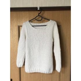 <年末セール>ふわふわ♪ボートネックのセーター(ホワイト)