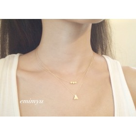 18Kcoating Cube & Triangle Double Chain Necklace