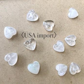 〈USA import〉 クリア アクリル ハートビーズ (8個)
