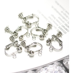 《12個入り》基本金具!円形ネジバネ&カン付きシルバーイヤリング金具