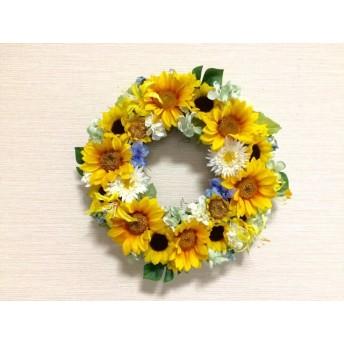 No. wreath-14588/★ギフト/花/玄関リース★/アートフラワー/ひまわりのリース(14)/33cm