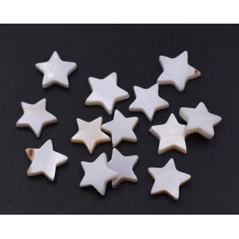 送料無料40個シェルビーズ 星型 12x12mm ホワイト as600