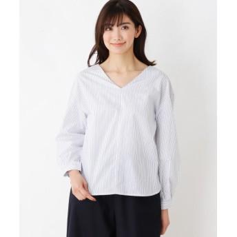 シャツ - index 【洗える】ブロードストライプ Vネックシャツ