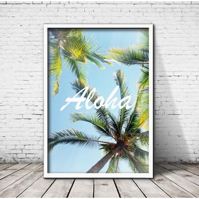 アートポスター322 Aloha☆ 額縁付き インテリアポスター