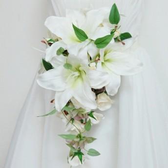 清楚な花嫁さまに!王道カサブランカのキャスケードブーケ&ブートニアセット