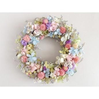 センニチコウとアジサイのリース:ドライフラワー・プリザーブドフラワー・リース・紫陽花
